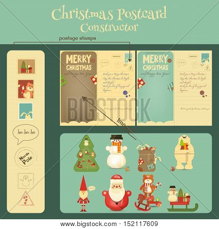 Christmas Postcard Constructor with Christmas and New Years Greeting. Backdrop of Postal Card and Collection of  Characters for Winter Gifts. Vector Illustration.