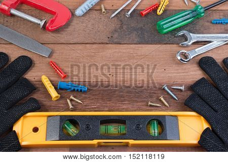 Working Tools. Set Of Working Tools On Wooden Background. Wood Working Tools Background Concepts.