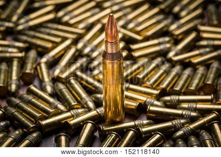 Selective focus on a single 223 caliber bullet in a background of 22 caliber bullets