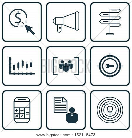 Set Of 9 Universal Editable Icons For Project Management, Seo And Airport Topics. Includes Icons Suc