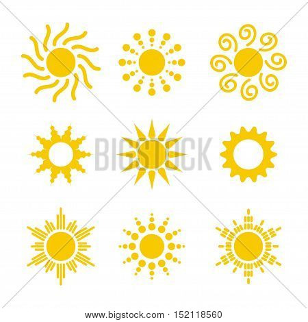 Sun icon vector set in a flat style. Different icons for sun logo. Collection of sun icons isolated on white background. Set of various icons with sun rays