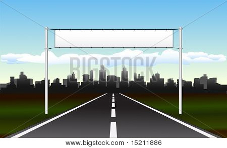 vector road to city with welcome billboard