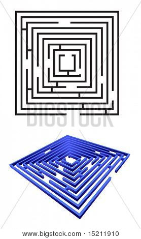 Vektor-Labyrinth, isolated on white
