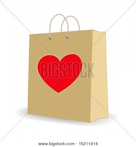 Vector de colores bolsa de compras con el símbolo del corazón