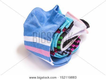 beautiful cotton socks isolated on white background