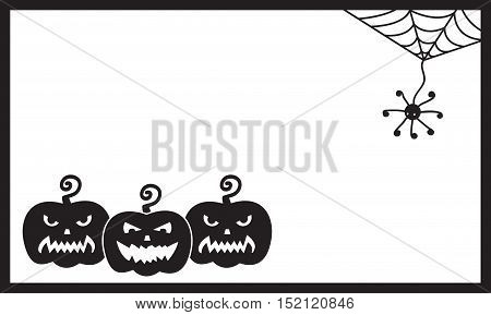 Halloween vector card template. Three sinister pumpkins and spider