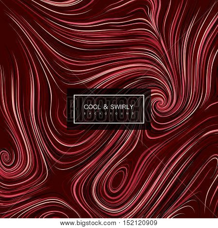 Abstract artistic curl background with swirled stripes. Vector vintage illustration of swirled and curled stripes background. Marble or acrylic texture imitation. Cool and Swirly background poster