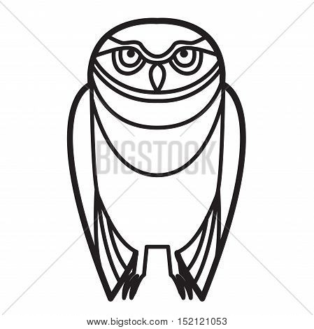 Burrowing owl drawn in simple tribal style line drawing monochrome.