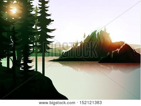 Nature landscape, mountain forest and lake. Vector natures hills, tree in rivers. Summer green background. Poster Travel. National Park. Sunrise scenic views of nature