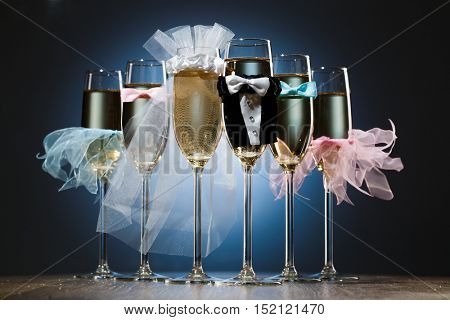 Set of champagne glasses for wedding party