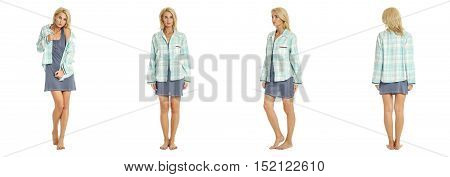 Sexy Woman In Blue Nightie Isolated On White Background