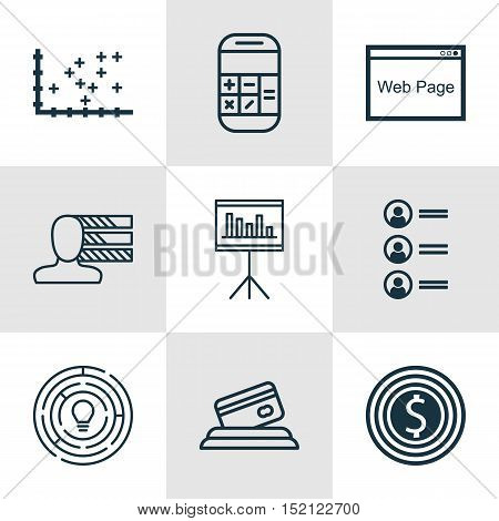 Set Of 9 Universal Editable Icons For Advertising, Statistics And Airport Topics. Includes Icons Suc