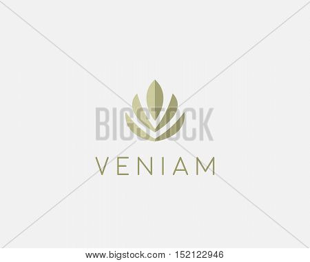 Abstract flower lotus logo icon design. Elegant crown diadem logotype symbol. Universal premium leaf tree vector sign