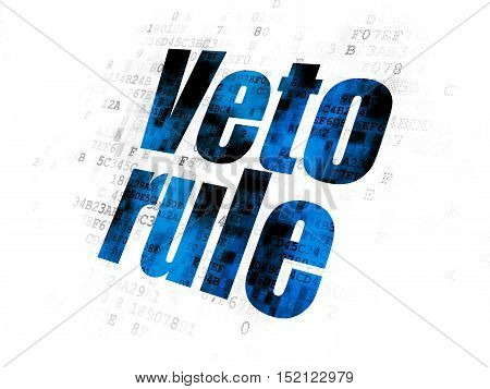 Political concept: Pixelated blue text Veto Rule on Digital background