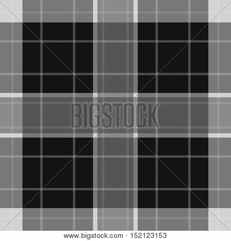 seamless illustration - white black tartan with squares and white stripes