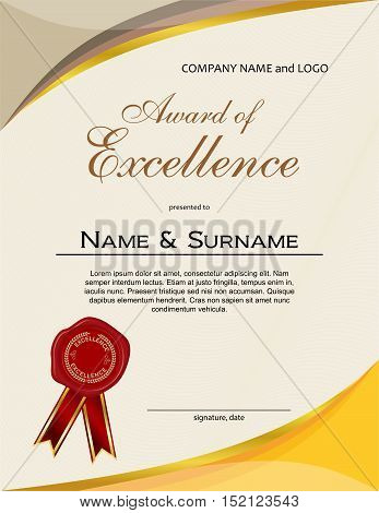 Award of Excellence with wax seal and ribbon portrait version