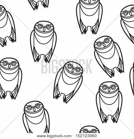 Burrowing owl drawn in simple tribal style seamless design.