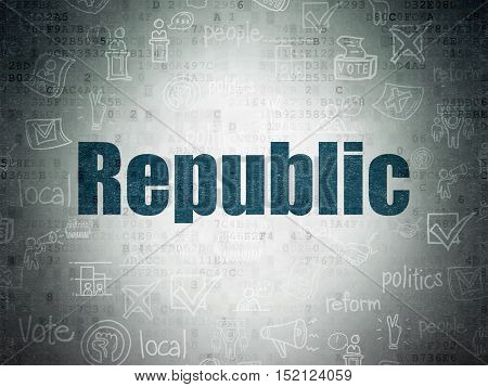 Politics concept: Painted blue text Republic on Digital Data Paper background with   Hand Drawn Politics Icons