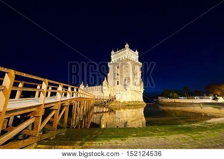 Belem Tower on Tagus river, Lisbon, Portugal.
