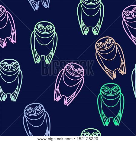 Seamless pastel burrowing owls over a blue background.