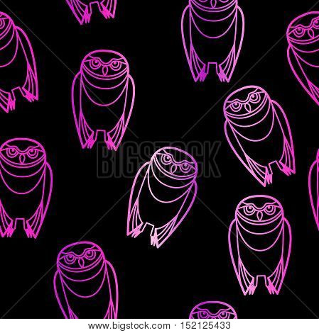 Seamless pink burrowing owls over a black background.