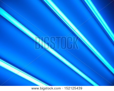 blue fluorescent lamps glow in the dark, abstract background