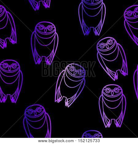 Seamless purple burrowing owls over a black background.