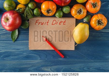 diet food concept on blue wooden table
