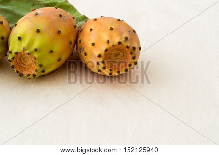 Prickly Pear Cactus Fruits on a White Background
