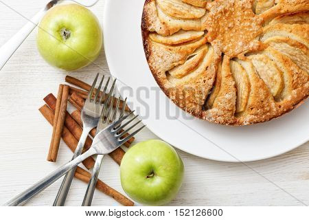 Homemade Apple Pie On White Table