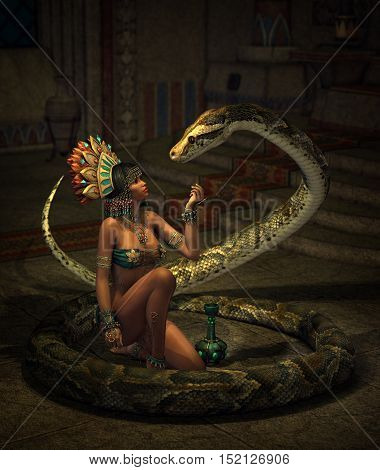 3d computer graphics illustration of a fantasy scene with girl and snake