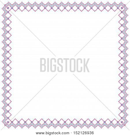 Decorative square frame, cross stitched embroidery imitation. poster