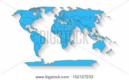 Blue colored continents with state borders on the white background with flat shadow