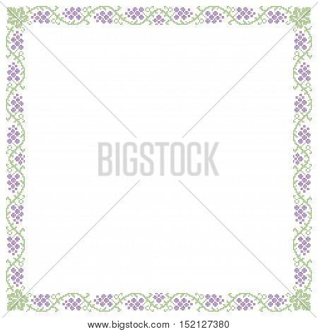 Decorative frame, grape pattern, cross-stitched embroidery imitation.