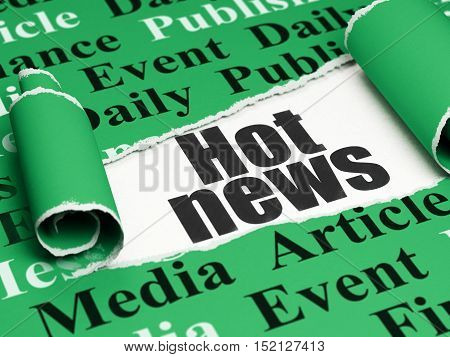 News concept: black text Hot News under the curled piece of Green torn paper with  Tag Cloud, 3D rendering