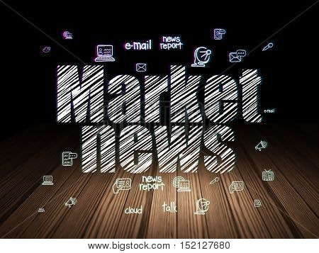 News concept: Glowing text Market News,  Hand Drawn News Icons in grunge dark room with Wooden Floor, black background
