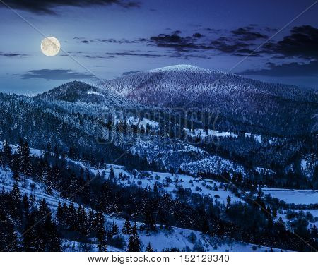 Sunrise In Winter Carpathians At Night