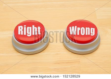 The difference between right and wrong Two red and silver push button on a wooden desk with text Right and Wrong