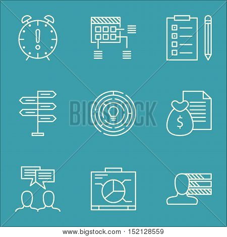 Set Of Project Management Icons On Innovation, Discussion And Board Topics. Editable Vector Illustra