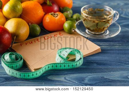 diet food concept in blue wooden table