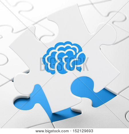 Healthcare concept: Brain on White puzzle pieces background, 3D rendering