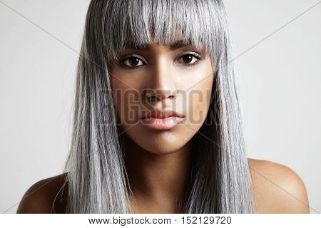 Creative Coloured Concept. Young Black Woman With Gray Hair