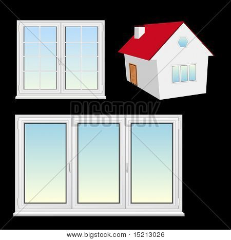 vector plastic windows and house  3d