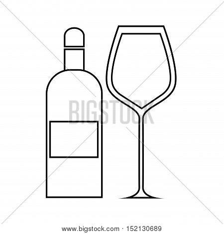 bottle and glass liquor drink over white background. vector illustration