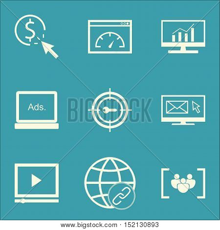 Set Of Marketing Icons On Connectivity, Keyword Marketing And Video Player Topics. Editable Vector I