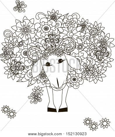 Flowers sheep, coloring page anti-stress vector illustration
