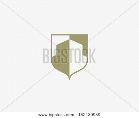 Abstract house logo design template. Premium real estate finance crest sign. Universal business foundation shield vector icon.