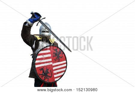 medieval metal armor and helmet mercenary warrior isolated over white