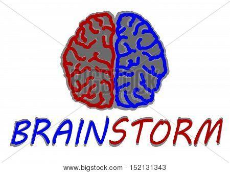 Brainstorming creative idea.Design over white background.Brain icon vector illustration. Flat design style.