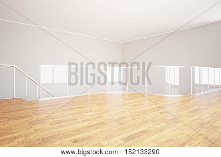 Modern unfurnished interior with wooden floor concrete walls ceiling and glass railing. 3D Rendering